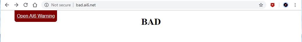 BAD page drop down dismissed
