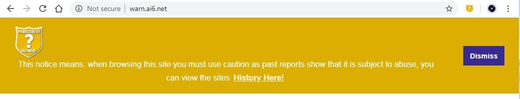 WARNING page drop down